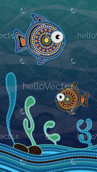 Aboriginal dot art painting with fish underwater concept.