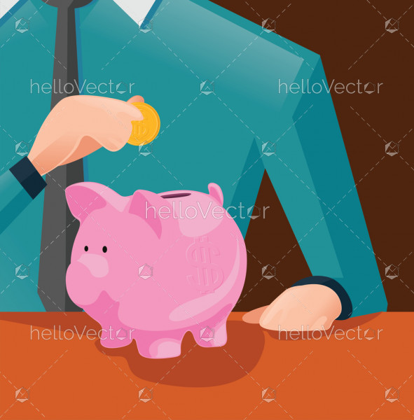 Saving money for future investment concept, Man putting coin in piggy bank