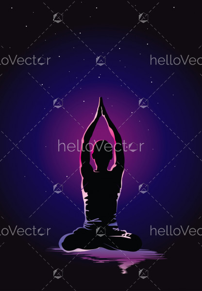 Yoga background vector illustration, Glowing outline of man in yoga pose on dark background.