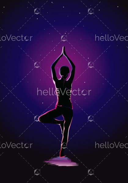 Yoga background vector illustration, Glowing outline of woman in yoga pose on dark background.