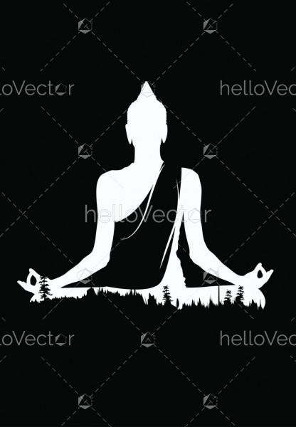 Buddha vector, White buddha on black background, Buddha and nature, meditation background