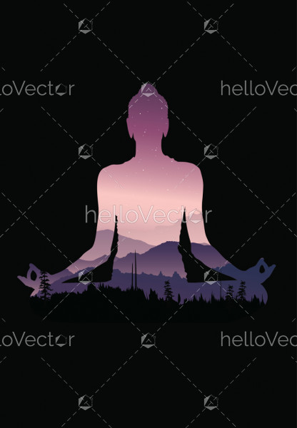 Buddha background vector, Buddha and nature, meditation background