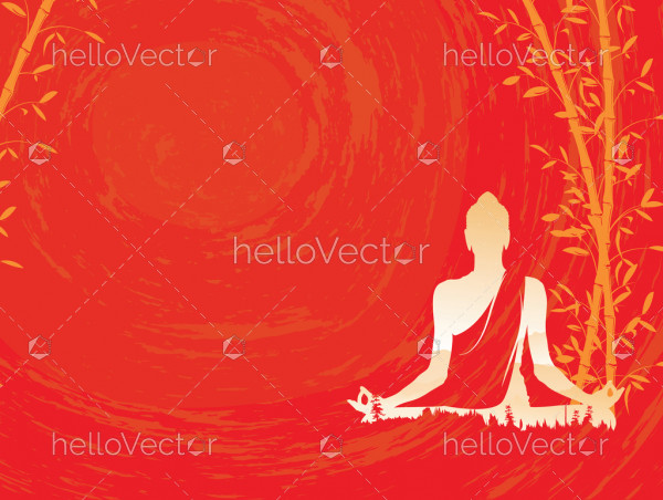 Buddha vector, Abstract Buddha with bamboo on red background, Buddha and nature, meditation