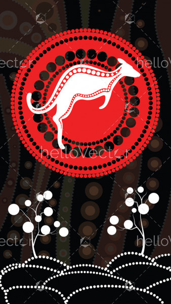 Aboriginal art vector background, Nature concept, Dot art painting with kangaroo, hill and tree.