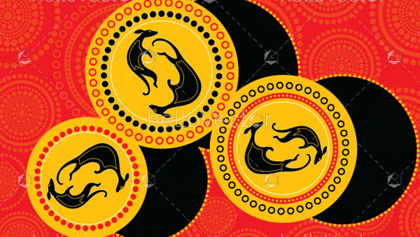 Connection concept, Aboriginal art vector painting with kangaroo. Illustration based on aboriginal style of dot background.