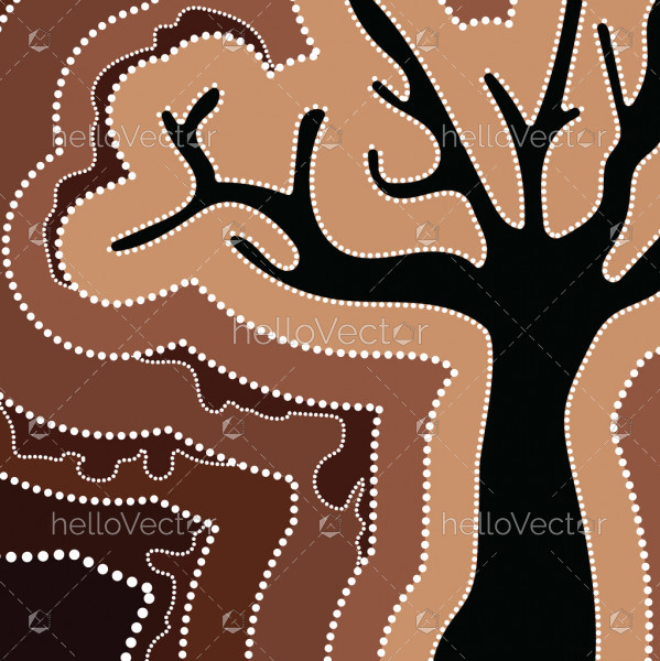 Aboriginal art vector painting with tree.
