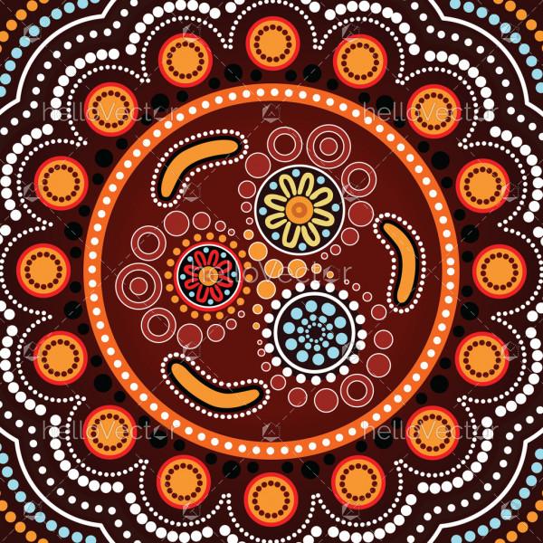 Aboriginal dot art background with boomerang - Vector illustration