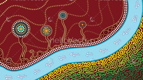 An illustration based on aboriginal style of dot painting depicting kangaroo track, trees and river
