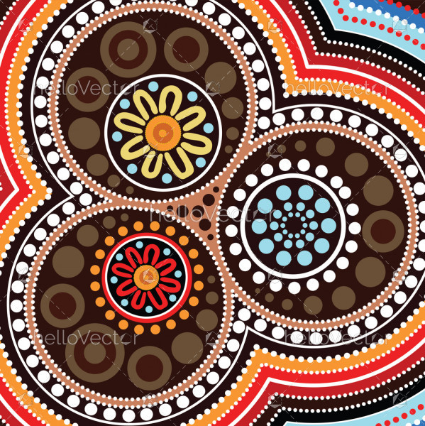Aboriginal art background - Vector illustration