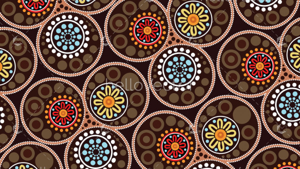 Aboriginal landscape dot art background - Vector illustration