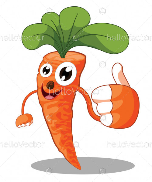 Cartoon carrot giving thumbs up, Cute vegetable isolated on white background - Vector illustration