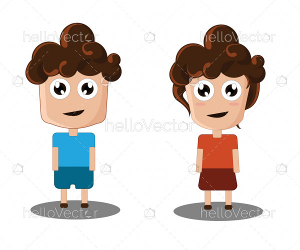 Cute children, Boy and girl cartoon character - vector illustration