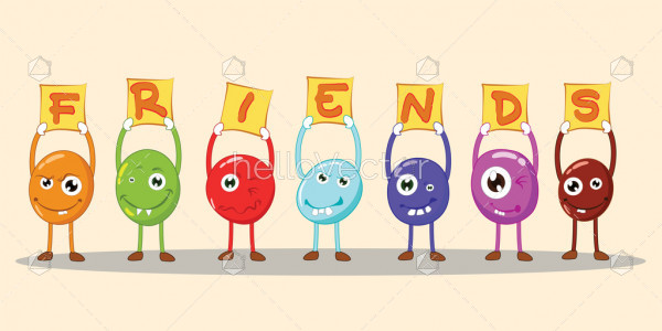 Friendship concept, Funny cartoon characters - Vector illustration