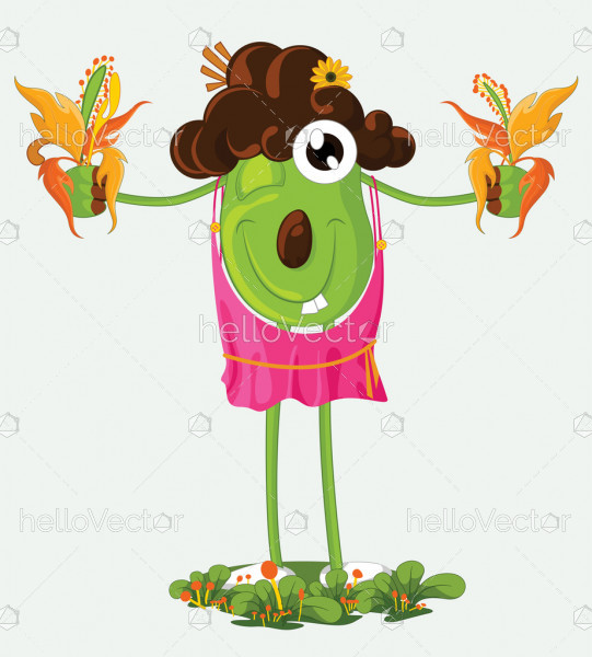 Vector Cartoon Funny Scarecrow, Happy Smiling Scarecrow Character Illustration
