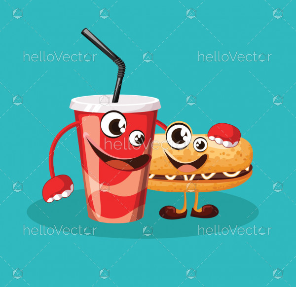 Funny hot dog and soda cartoon characters with cute smiling face - vector illustration