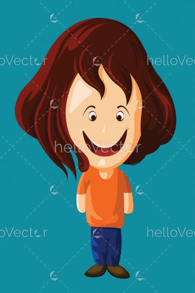 Cute little boy cartoon character, Happy kid vector illustration