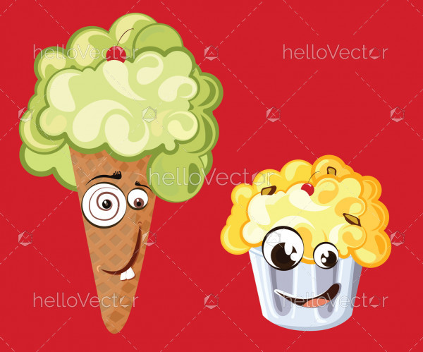 Funny ice cream characters with cute smiling face - vector illustration