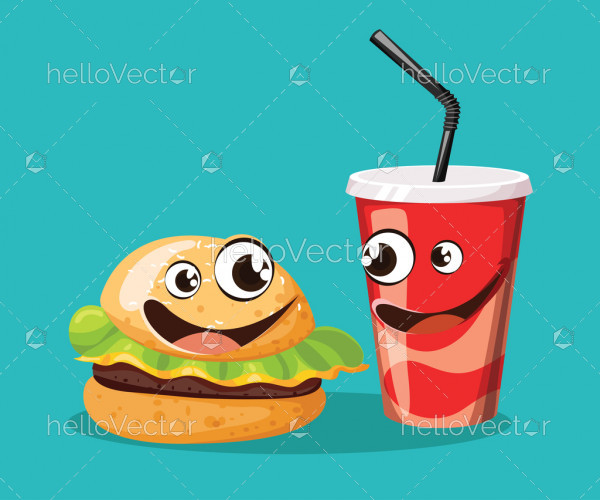 Fast food cartoon characters with cute smiling face - vector illustration