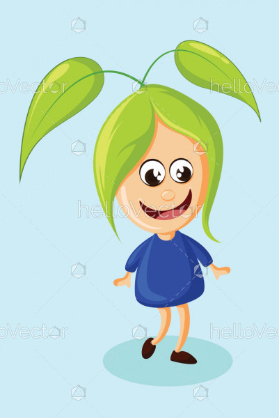 Cute little girl cartoon character, Happy girl vector illustration