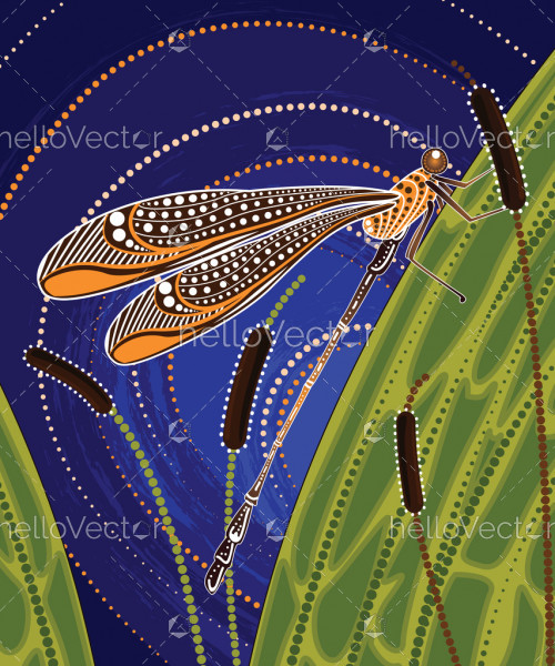 Dragonfly on cattails aboriginal art vector painting.