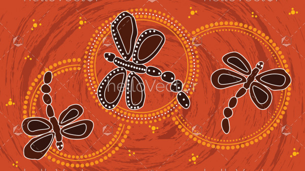 Aboriginal art vector painting with dragonfly