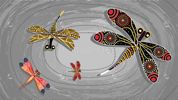 Dragonfly aboriginal art vector painting