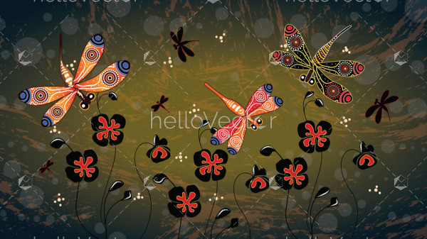 Aboriginal art vector painting with dragonfly and poppy flowers