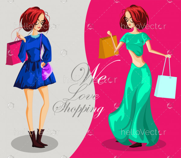 Fashion girls with shopping bags - Vector illustration