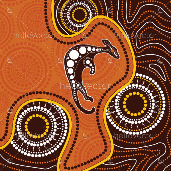Aboriginal art background with kangaroo - Vector illustration