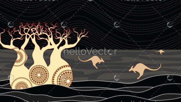 Boab (Baobab) Tree Vector Painting. Aboriginal art vector background.