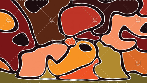 Aboriginal art background - Vector illustration