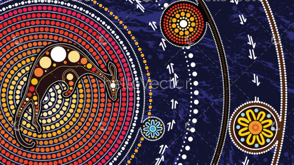 Aboriginal art vector painting with kangaroo