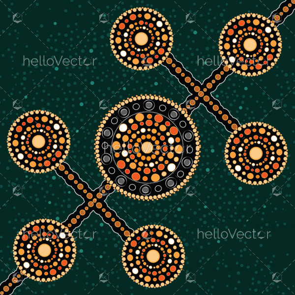 Aboriginal art vector painting, Connection concept