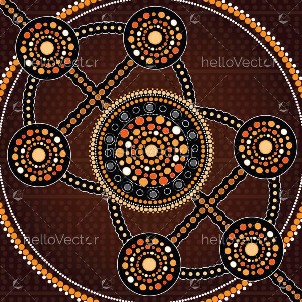 Aboriginal art vector painting, Connection concept