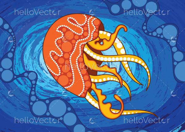 Aboriginal art vector background depicting jellyfish.