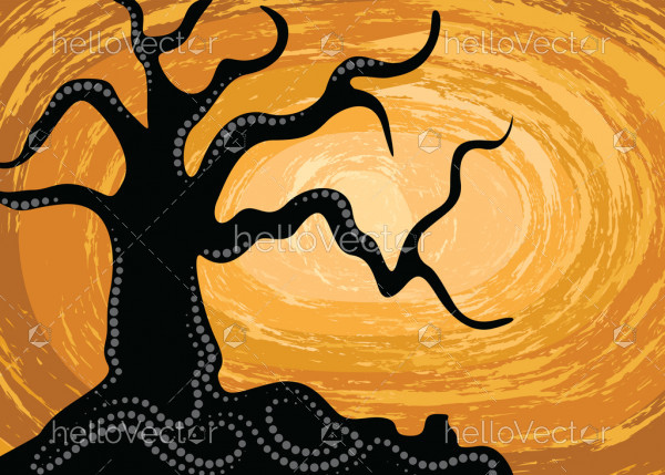 Aboriginal art vector silhouette background with tree.