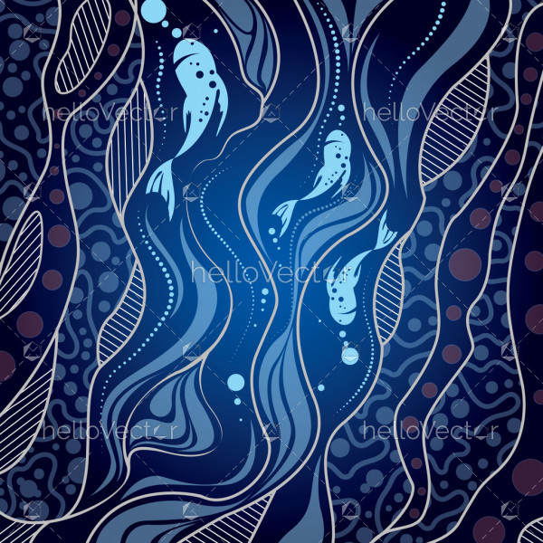 Aboriginal art vector background - River concept
