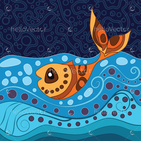 Aboriginal dot art painting with fish - Vector Illustration