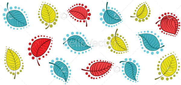 Seamless vector background with leaves.