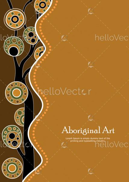 Aboriginal tree, Aboriginal art vector banner with text.