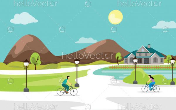 Urban landscape vector background.
