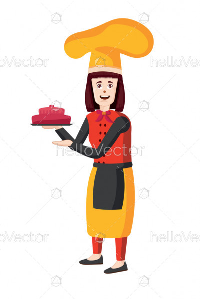 Female chef vector illustration. Woman cook in apron standing with cake